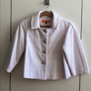 NWT White & Orange Patterned Blazer